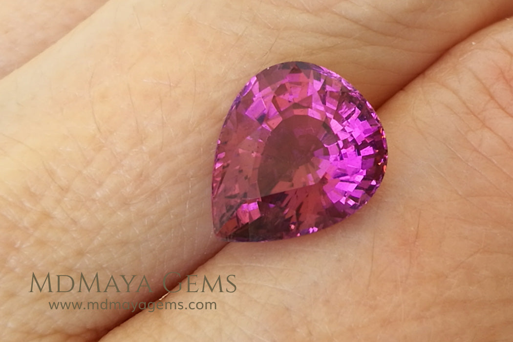 Pink Tourmaline from Mozambique Pear Cut., 5.77 ct under daylight