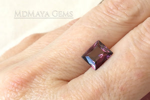 Bright Unheated Red Purple Spinel. Rectangle Cut. 2.18 ct