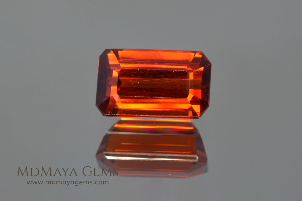 Hot Reddish Orange Spessartite Garnet Emerald Cut 3.47 ct
