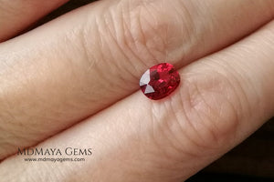 Vivid Red Spinel cushion cut 1.15 ct