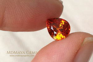 Rich Orange Spessartite Garnet Pear cut 1.91 ct