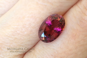 Untreated Rubellite. Oval Cut. 4.04 ct under daylight