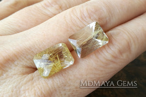 Matched Pair of rutilated quartz with beautiful golden inclusions 15.91 ct, checkerboard cut