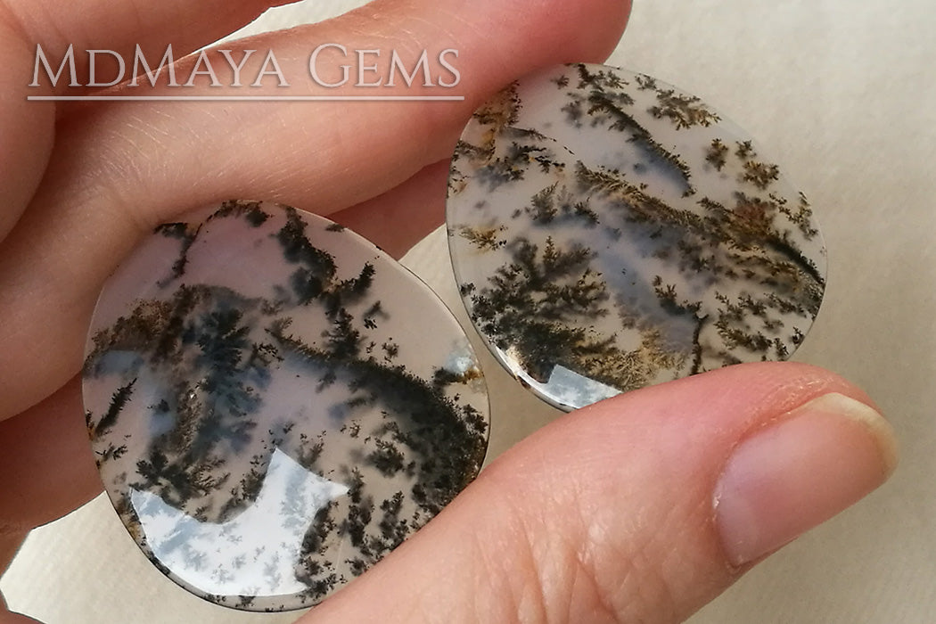 Set of three Dendritic Agates with beautiful inclusions that remind us of a Japanese landscape painting