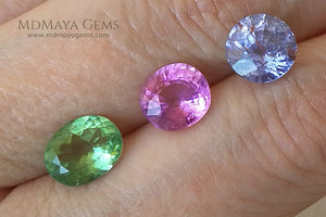 Set of type Paraiba Tourmaline Gemstones (Copper Bearing Tourmalines)