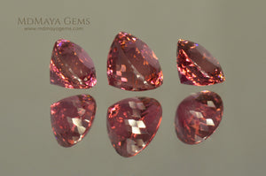 Beautiful Set of 3 Natural Pink Tourmaline Gemstone from Mozambique 5.30 ct set round cut. Perfect for earrings and ring.