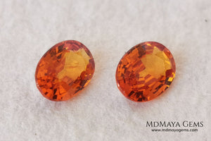 Stunning and Bright Orange Spessartite Garnets. Beautiful pair of natural and untreated gemstones, they will be superb on some earrings. They are full of life, they are pure orange