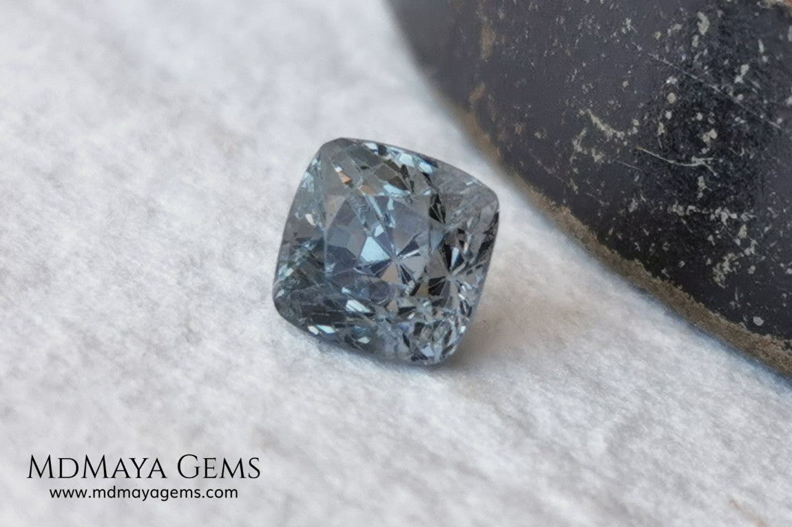 Bluish Grey Spinel, Square Cushion Cut, 1.10 ct. This beautiful precious stone dark has a beautiful metallic color and shine, its pavilion is a little high but this untreated gemstone once mounted in any kind of jewelry it will look precious.