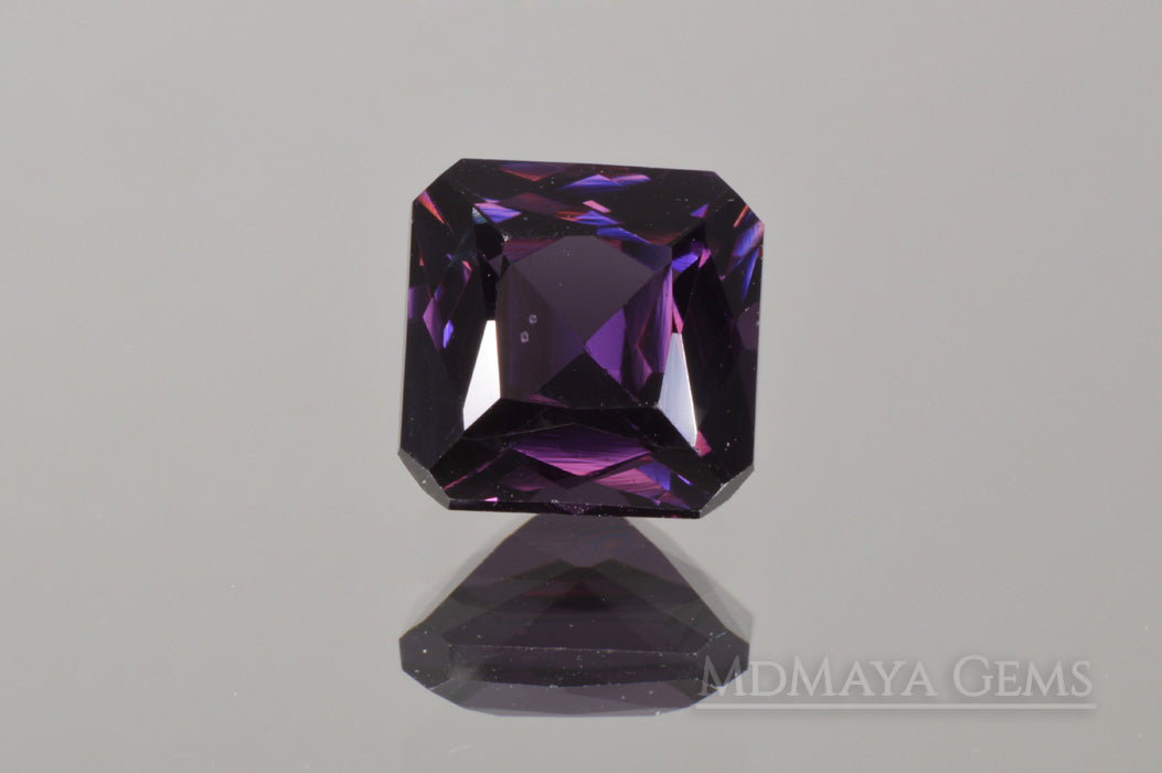Lush Dark Violetish Purple Spinel.  2.20 ct square cut