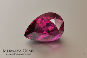 Vivid reddish purple Umbalite (Rhodolite Garnet) 3.15 ct, pear cut. Beautiful and untreated gemstone that shows a saturated color, it will look perfect in any piece of jewelry.