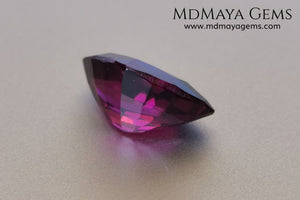 Reddish Purple Umbalite (Rhodolite Garnet), 3.29 ct, fancy cut. This natural and untreated gemstone shows a saturated color, has a very good cut and proportions, it will look perfect in any kind of jewelry.