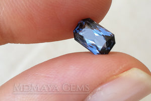 Unheated Violet Grey Spinel Gem. Octagon Cut. 1.42 ct under daylight