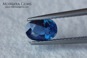 Blue Sapphire 1.16 ct oval cut.  Beautiful untreated blue sapphire. This little one of just over one carat shows a pretty blue color. It has an elongated blue cut that is not perfect, since its culet is somewhat displaced, but we have to bear in mind that it is difficult to find rough material without treating it, so it is takes full advantage of it. A small miracle of nature at an irresistible price, it will look amazing on any piece of jewelry.