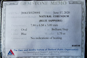Untreated Dark Greenish Blue Sapphire 1.75 ct with certificate.