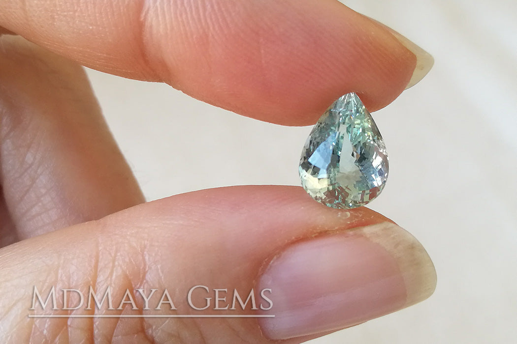 Beautiful very Light Blue Aquamarine. Pear Cut. 2.96 ct.