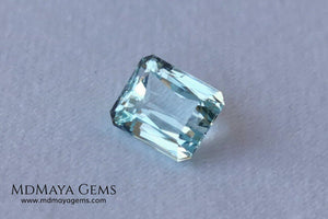 Elegant light blue aquamarine 3.08 ct emerald cut
