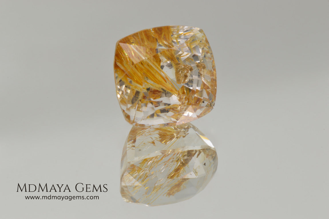 White topaz with amazing golden inclusions 19.62 ct