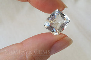 Affordable White Topaz gemstone from Mogok 11.13 carat Cushion Cut