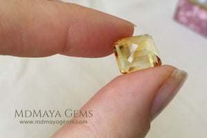 Flawless Golden Yellow Citrine Square Cut 6.80 ct