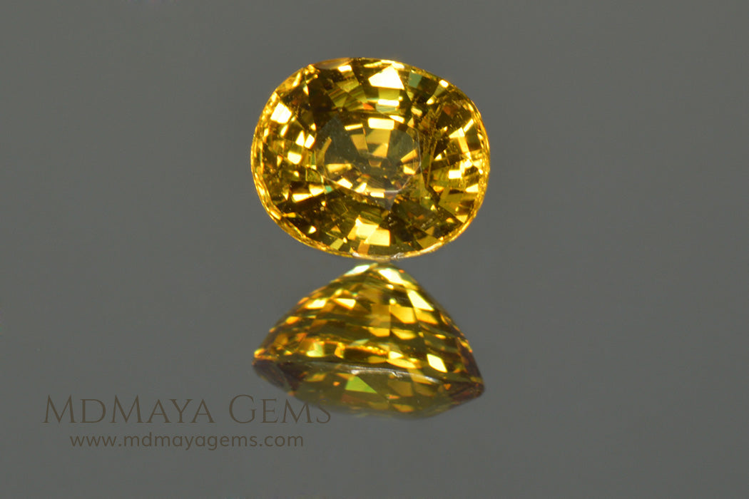 Vivid Untreated Yellow Mali Garnet Oval Cut 1.38 ct