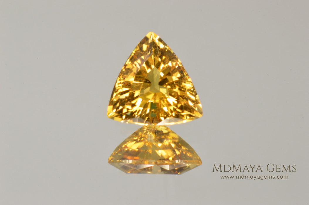 Unique Yellow African Tourmaline Trillion Cut 1.35 ct