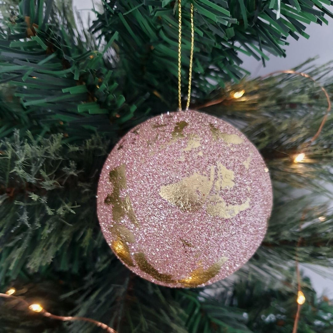 Pink & Gold Leaf Bauble