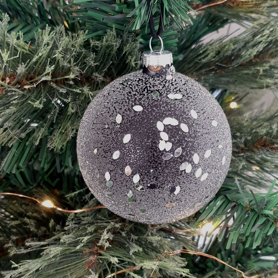 Black Sparkle Glass Bauble