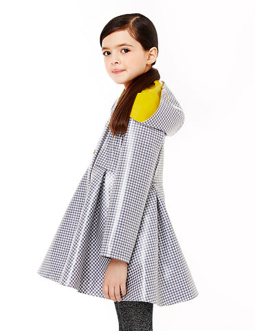 Audrey Coat<br>Grey Houndstooth / Yellow