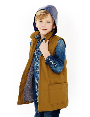 Boys City Slicker<br>Butternut Water Repellent Fabric & Navy Patent<br>with Navy Fleece Lining