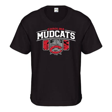 Carolina Mudcats Youth Black Slots Tee