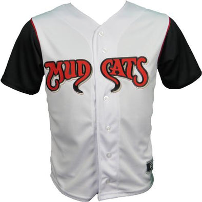 Carolina Mudcats Adult White/Black Sleeve Replica Jersey