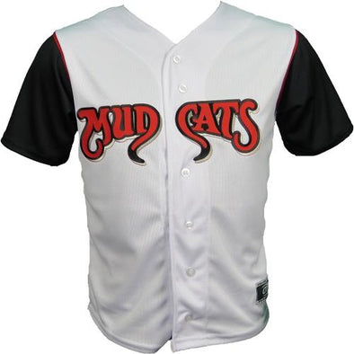 Carolina Mudcats Youth White/Black Sleeve Replica Jersey