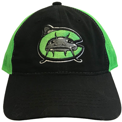 Carolina Mudcats Black/Neon Green Mesh Back Hat