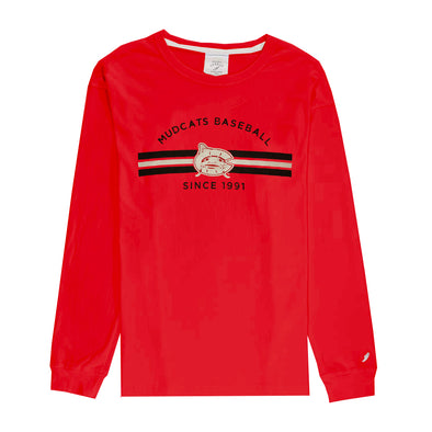 Carolina Mudcats Women's Red Clothesline Cotton Long Sleeve