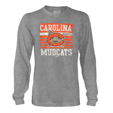 Carolina Mudcats Streaky Grey Block Long Sleeve Tee