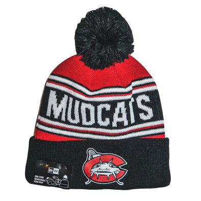 Carolina Mudcats Black/Red Stadium Pom Beanie