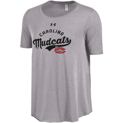Carolina Mudcats Women's Under Armour Gray Heather Trapeze Tee