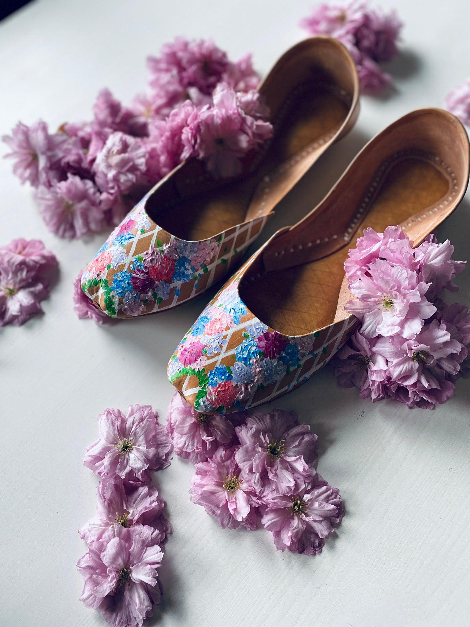 Blooming flowers, hand painted shoes