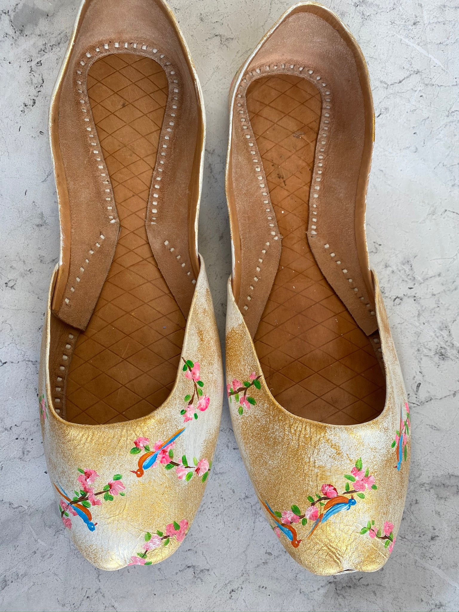 Gold & white Khussa shoes