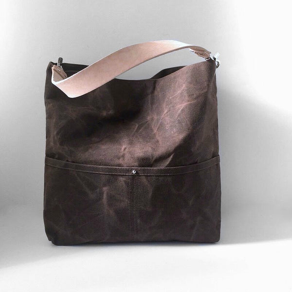 Waxed Canvas Tote Bag in Dark Brown, Bucket Bag
