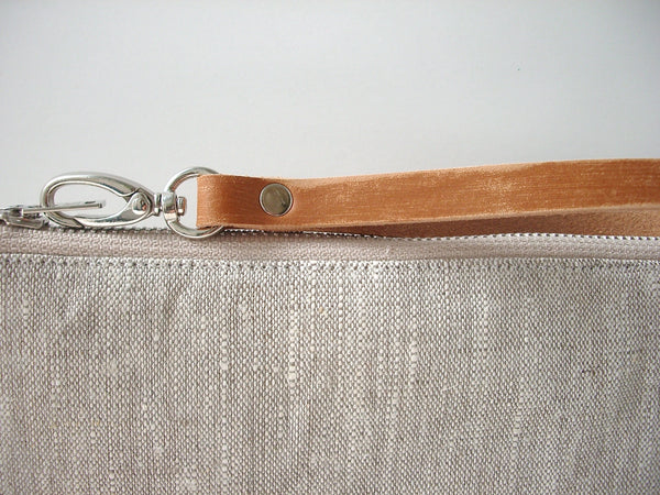 Simple Linen Wristlet, Clutch Purse