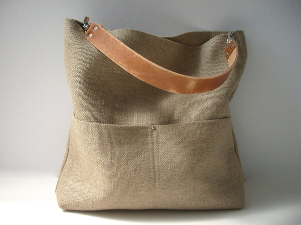 Jute Bucket Bag, Weathered Tan Leather Strap