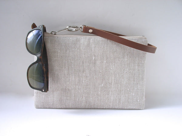 natural linen clutch purse