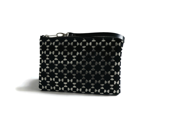 Wristlet, Simple Black Clutch Bag with Cut-out Overlay