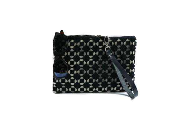 Black Clutch Purse with Cut-out Eyelet Overlay