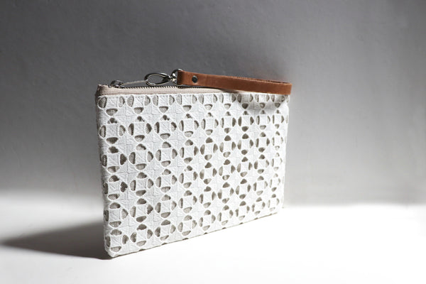 Linen Purse with Embellished Cut-Out Overly in Ivory Cotton