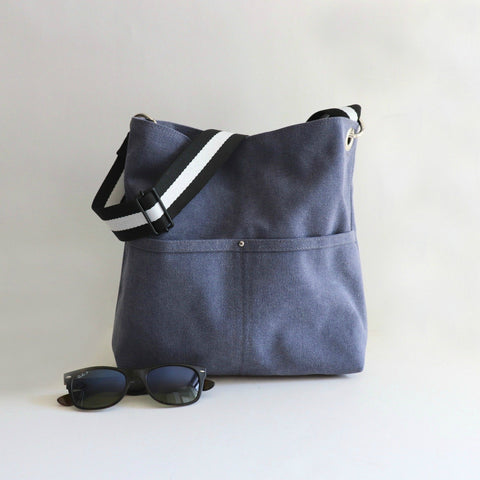 Medium Bucket Bag in Harbor Blue Sunwashed Canvas