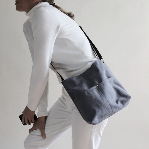 Medium Hobo Bag in Dark Gray Canvas
