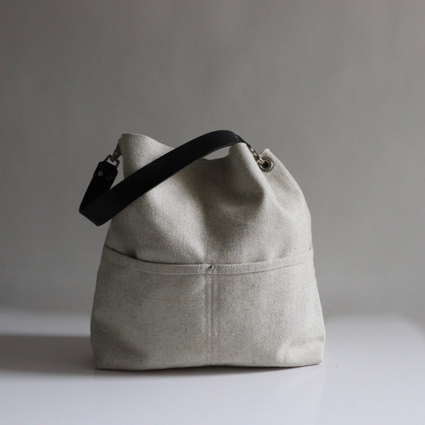 Bucket Bag in Woven Flax by Independent Reign