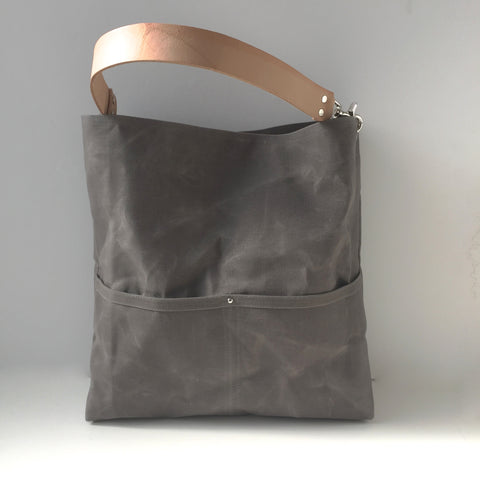 Hobo Tote Bag in Gray Waxed Canvas